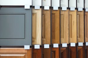 cabinet design and material samples hanging